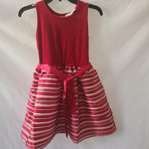 The Children's Place Velvet Top Strip Belted Dress